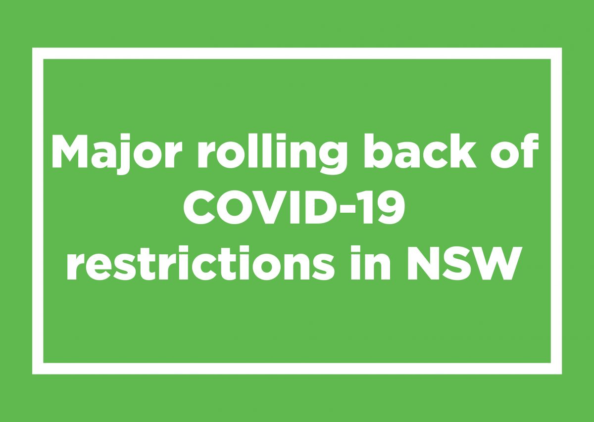 Major rolling back of COVID-19 restrictions in NSW